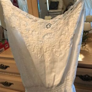 White linen and lace dress!